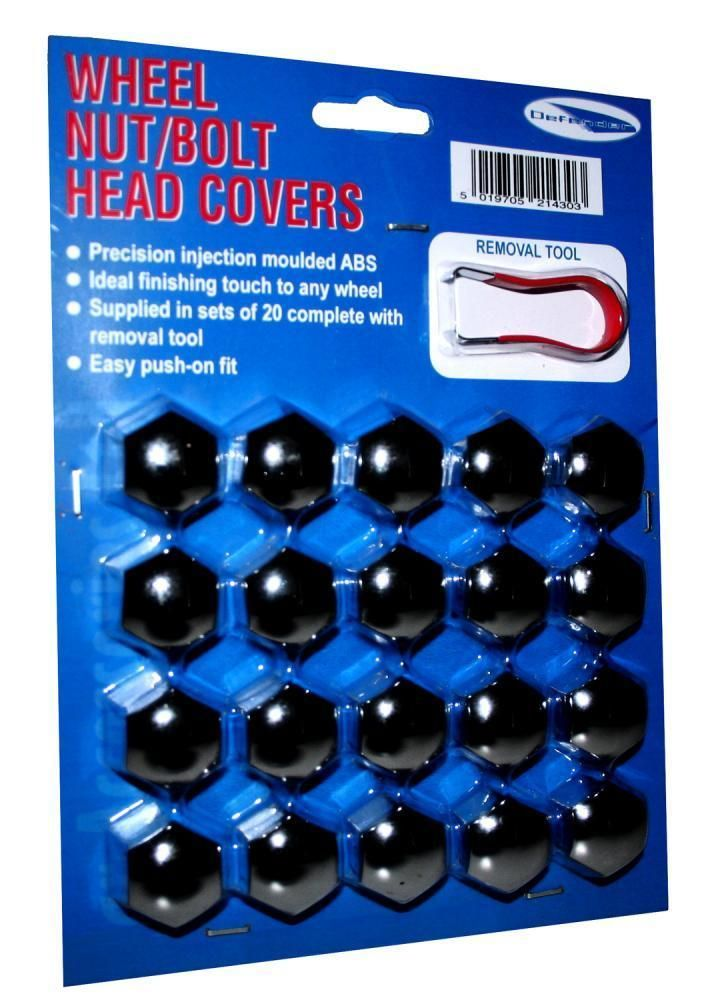 Car Wheel Nut Bolt Covers Caps Black 21mm Full Set of 20 With Removal Tool
