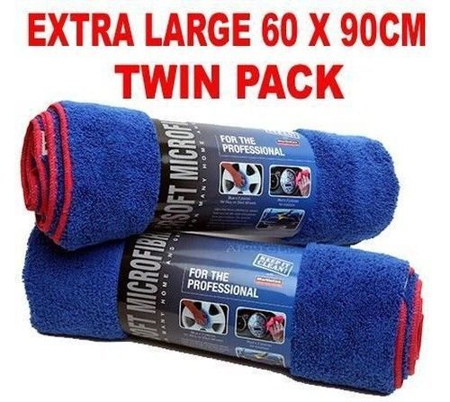 TWIN PACK Car Drying Towel Microfibre Extra Large 60 x 90cm