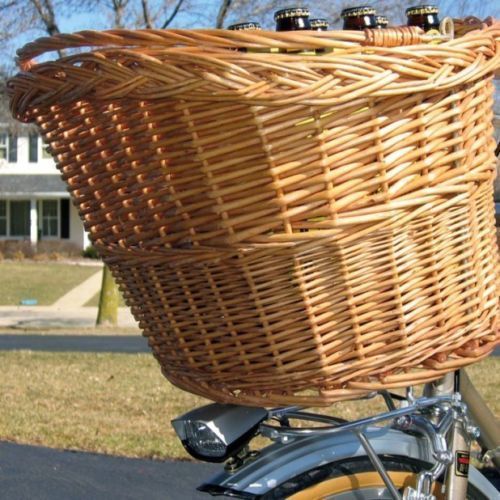 Wicker Basket For Bike Bicycle With Carry Handle NEW